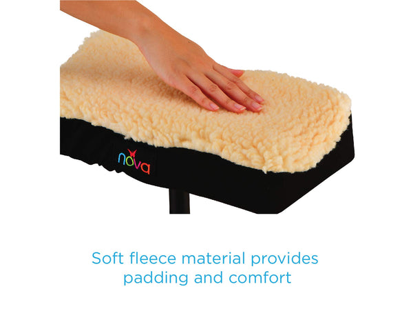 NOVA Medical Knee Walker Cushion Cover, Thick Padded Fleece Faux Sheepskin Top, Easy to Fit Most Knee Walkers & Knee Scooters, Washable
