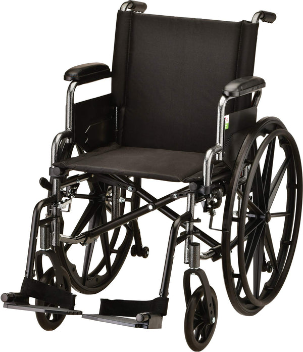 "NOVA Lightweight Wheelchair with Flip Up Desk Arms (for Easy Transfer), Adjustable & Easy Release Footrests, Safety Anti-Tippers, Choose from 3 Seat Widths - 16"", 18"" & 20"", Weighs only 32 lbs."