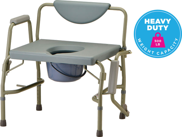 Heavy Duty Commode with Drop-Arm & Extra Wide Seat (8583)