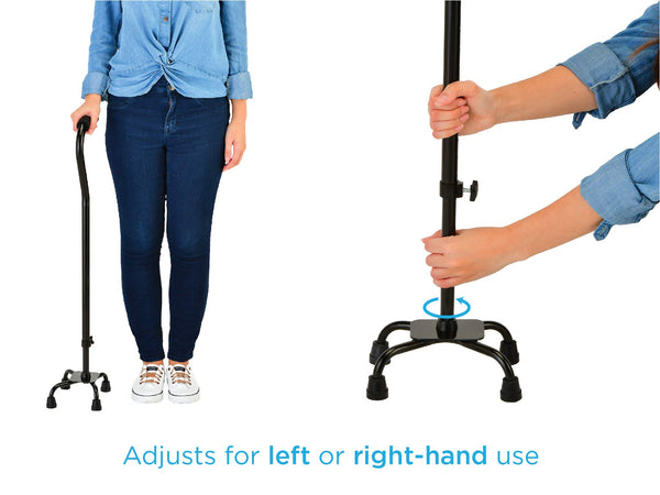 Designer Quad Cane, Lightweight Four Legged Cane with Soft Grip Handle