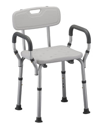 Shower and Bath Chair with Back & Arms, Quick & Easy Tools Free Assembly