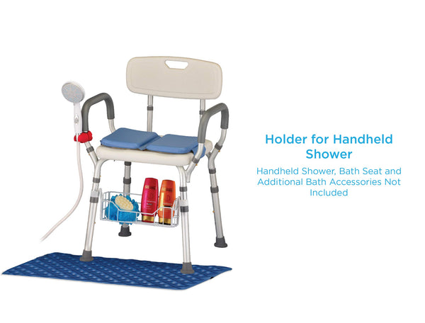 NOVA Hand Held Shower Holder Attachment for Bath Seat, Transfer Bench, Bath Stool, Shower Commode, Universal Fit