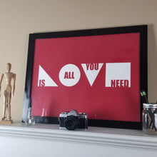 "Load image into Gallery viewer, ""Love Is All You Need"" Print (Cardinal)"