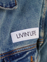 "Load image into Gallery viewer, Embroidered ""LnL"" Stretch Denim Jacket"