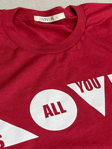 """Love Is All You Need"" Tee (Cardinal/White)"