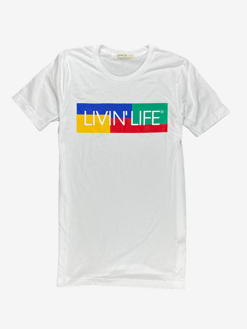 """Color Block"" Signature Tee (White)"