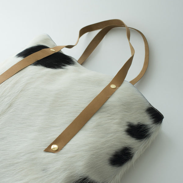 Petel Cowhide Tote (Black & White)