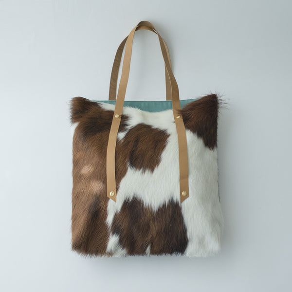 Petel Cowhide Tote (Brown & White)