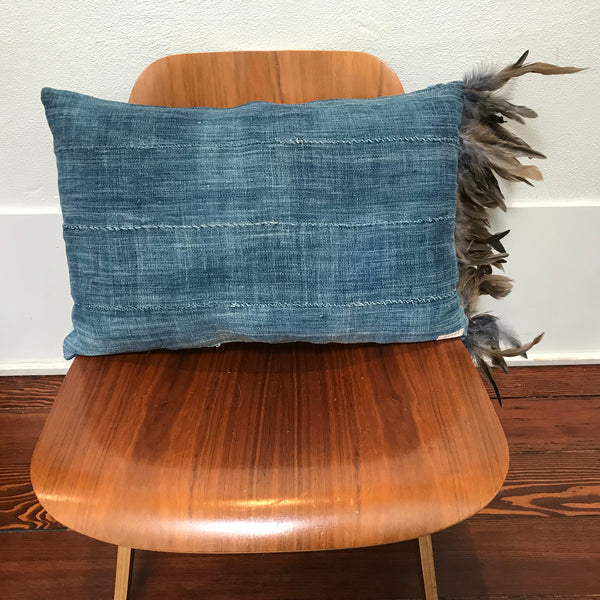 Peter Indigo Pillow with Feathers