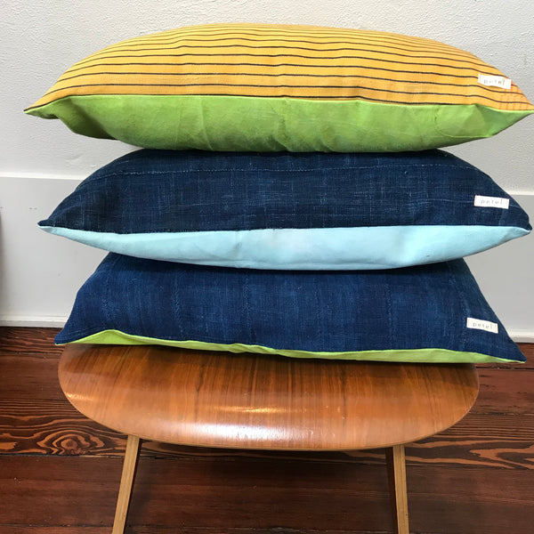 Petel Indigo and Lime Green Pillow