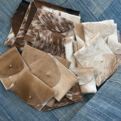 Suede & Cowhide Leather Pouch (Dark Brown & White)
