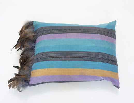 Petel Striped Pillow with Feathers