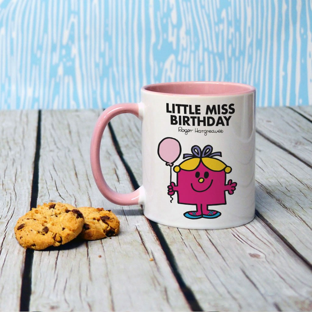 Little Miss Birthday Large Porcelain Colour Handle Mug (Lifestyle)