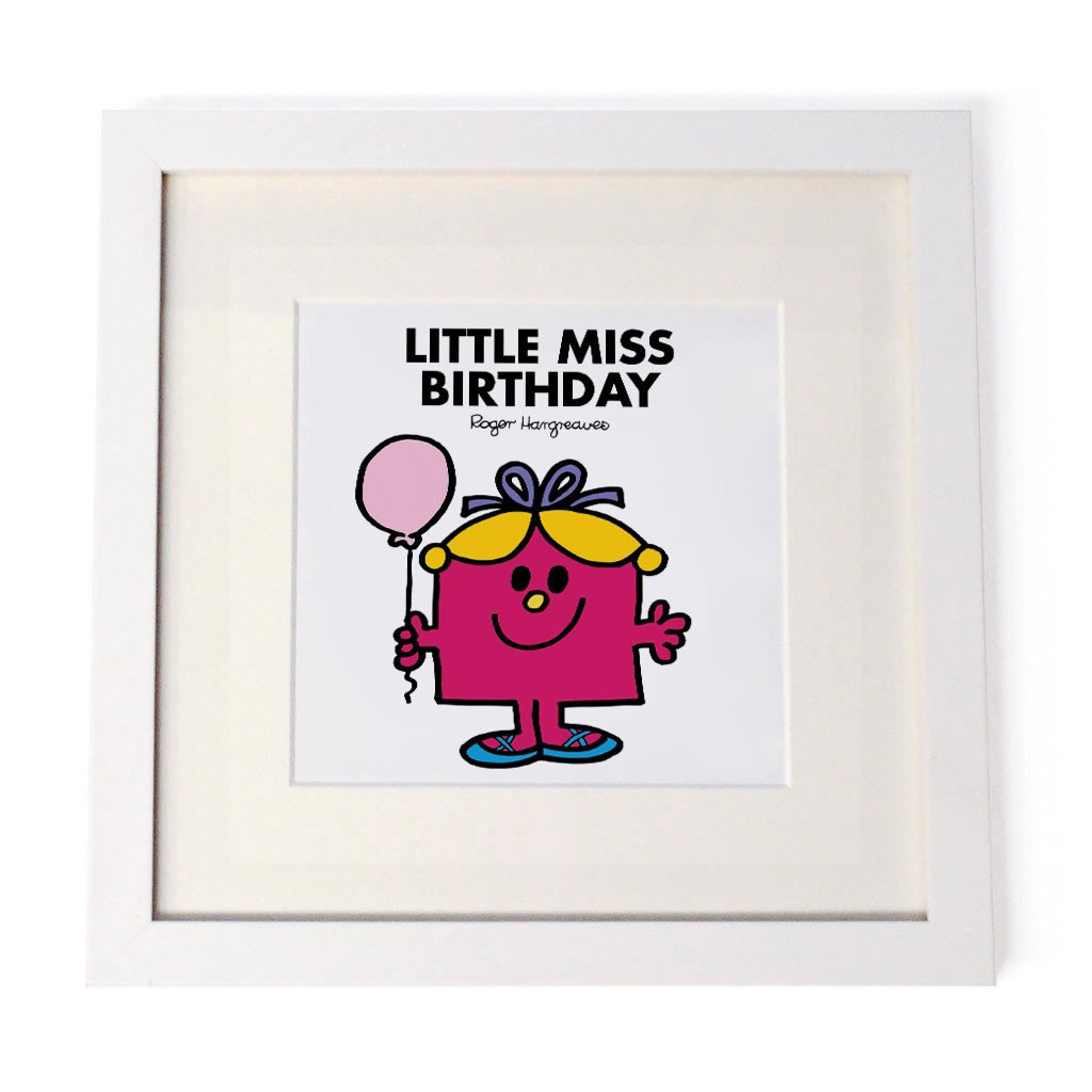 Little Miss Birthday White Framed Print