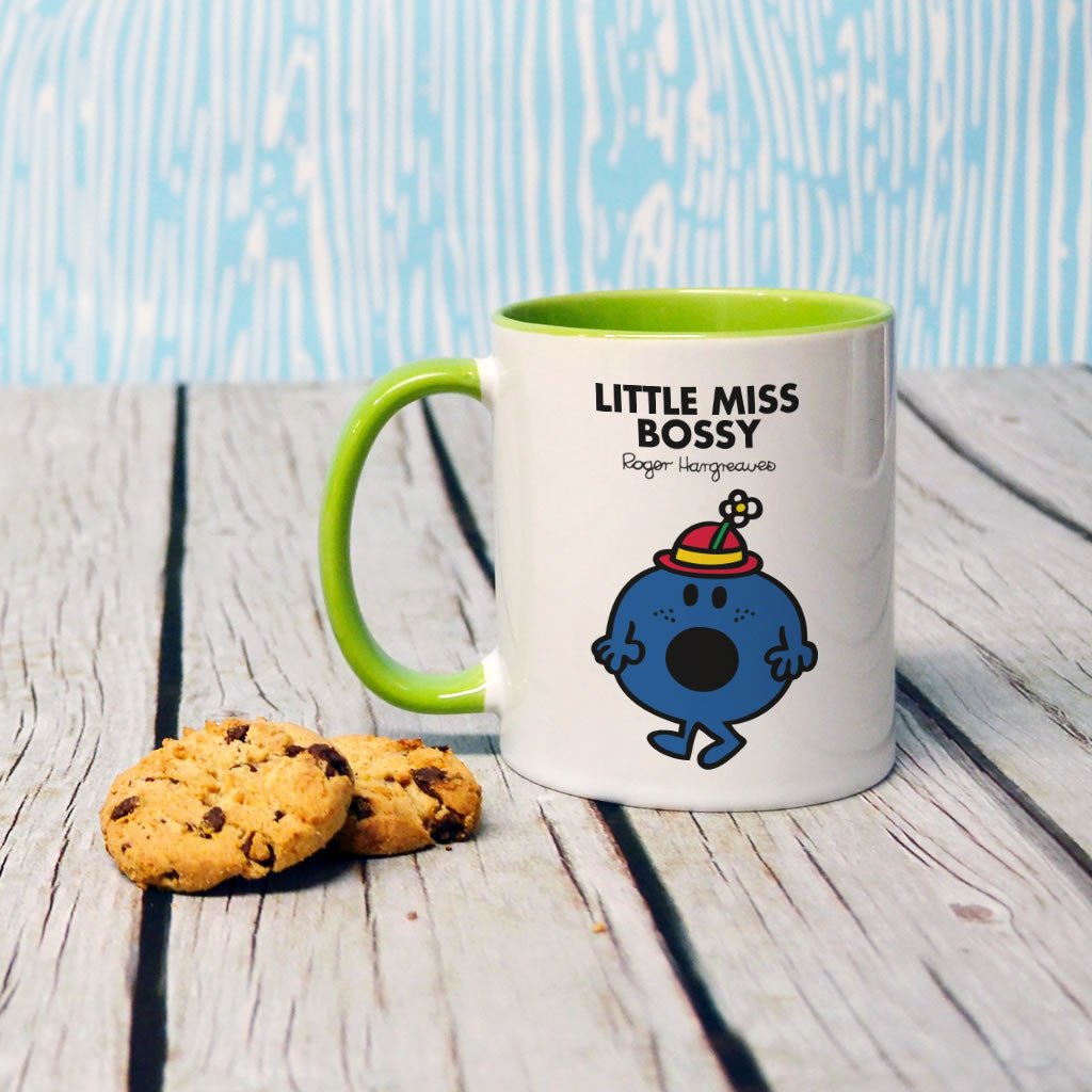 Little Miss Bossy Large Porcelain Colour Handle Mug (Lifestyle)