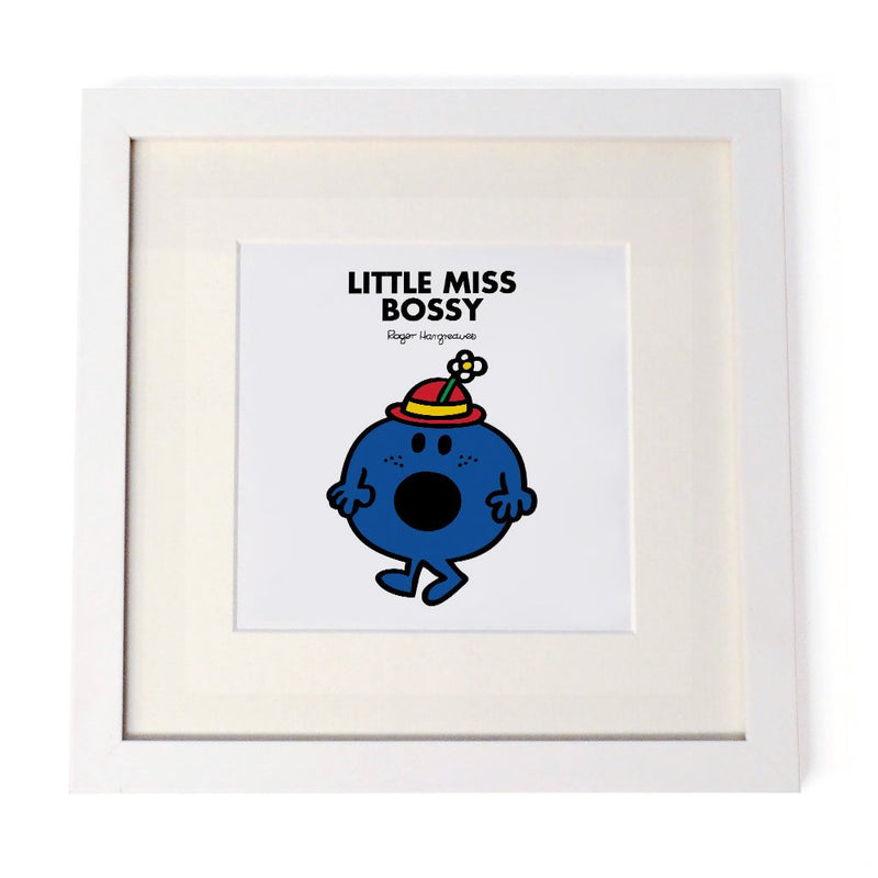 Little Miss Bossy White Framed Print