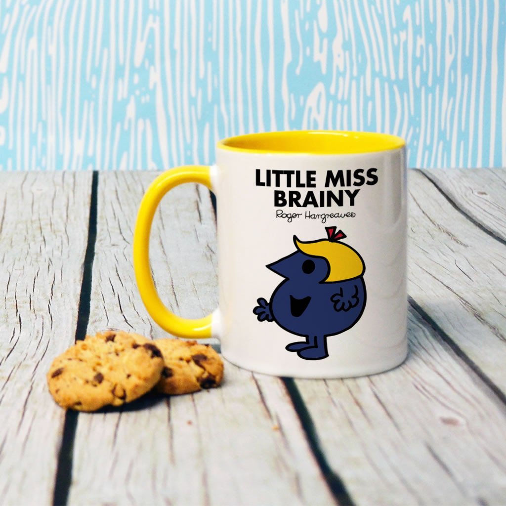 Little Miss Brainy Large Porcelain Colour Handle Mug (Lifestyle)