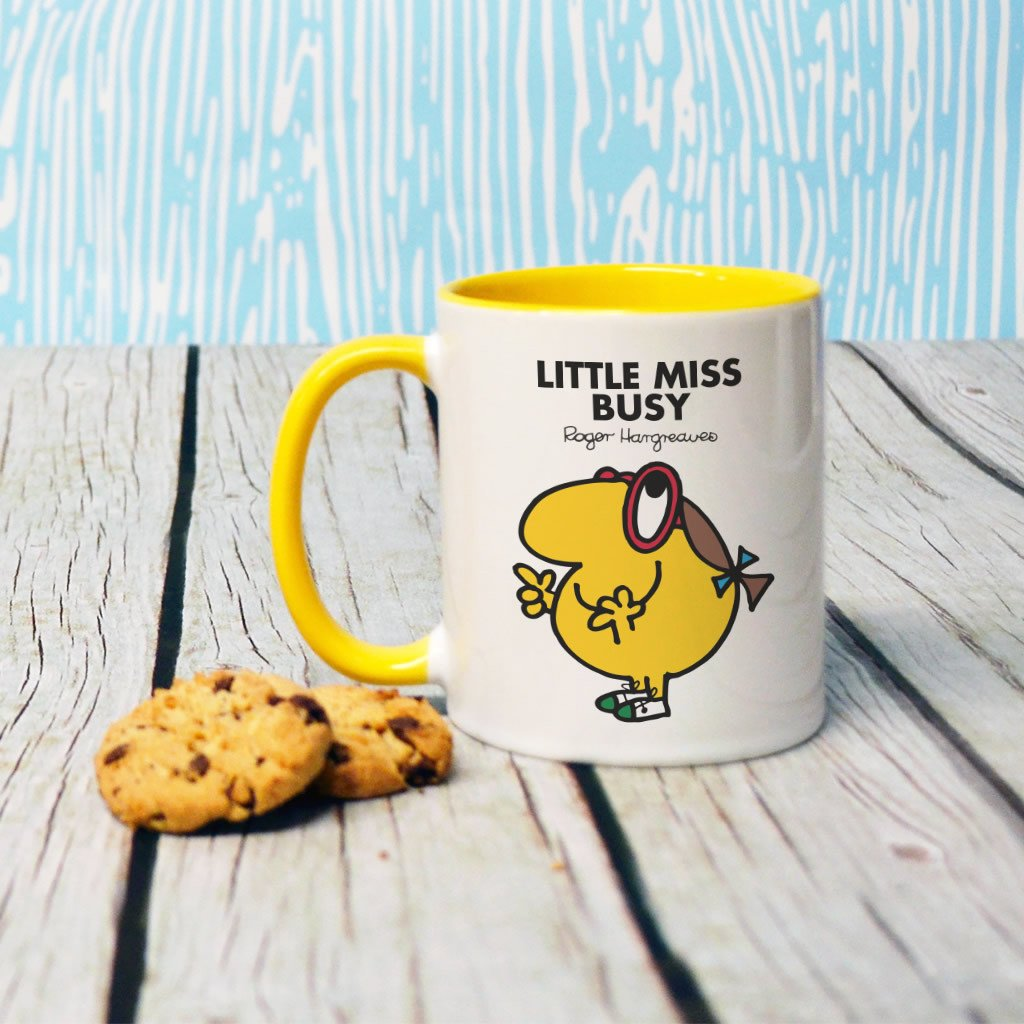 Little Miss Busy Large Porcelain Colour Handle Mug (Lifestyle)