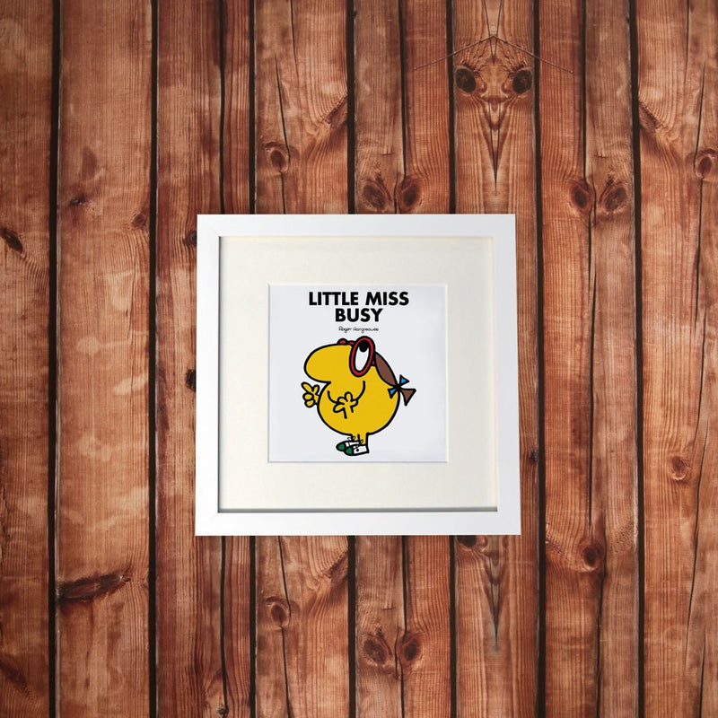 Little Miss Busy White Framed Print (Lifestyle)