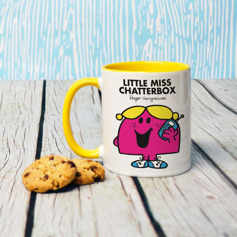 Little Miss Chatterbox Large Porcelain Colour Handle Mug (Lifestyle)