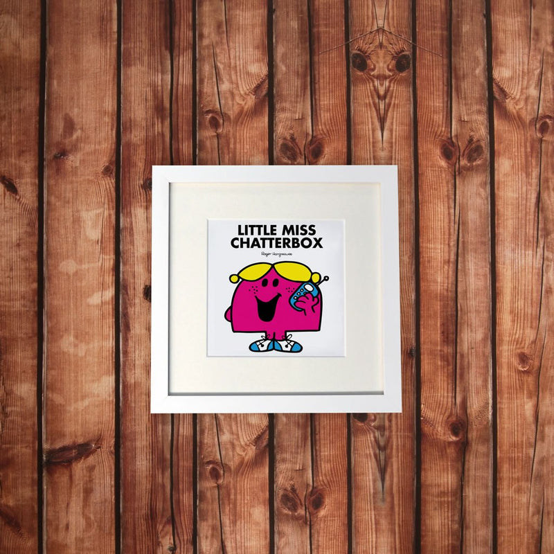Little Miss Chatterbox White Framed Print (Lifestyle)