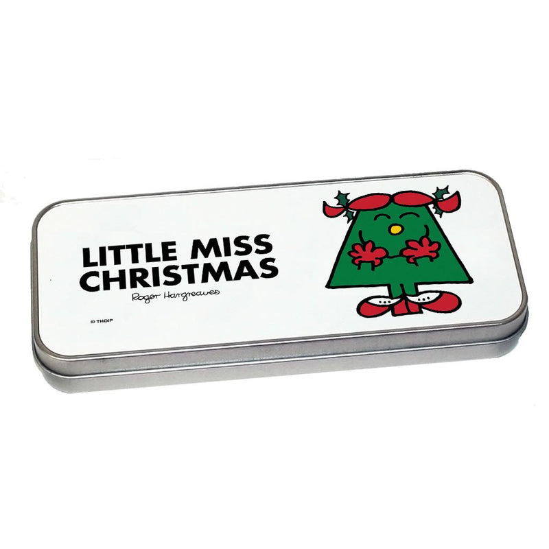 Little Miss Christmas Pencil Case Tin (Silver)