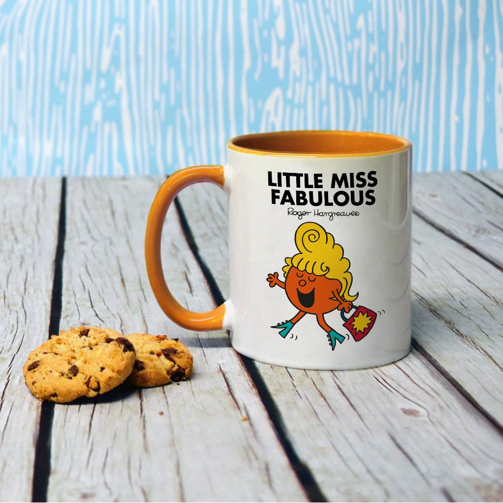 Little Miss Fabulous Large Porcelain Colour Handle Mug (Lifestyle)