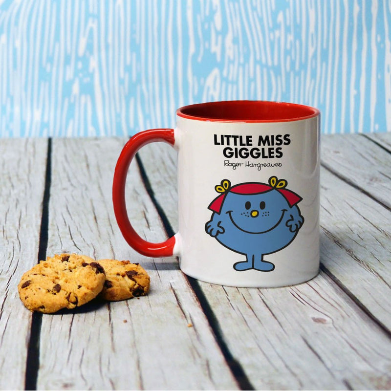 Little Miss Giggles Large Porcelain Colour Handle Mug (Lifestyle)