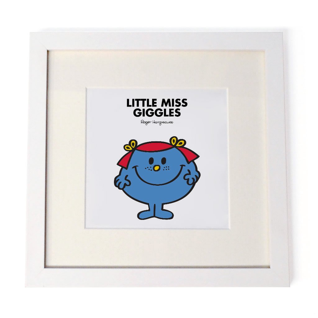 Little Miss Giggles White Framed Print