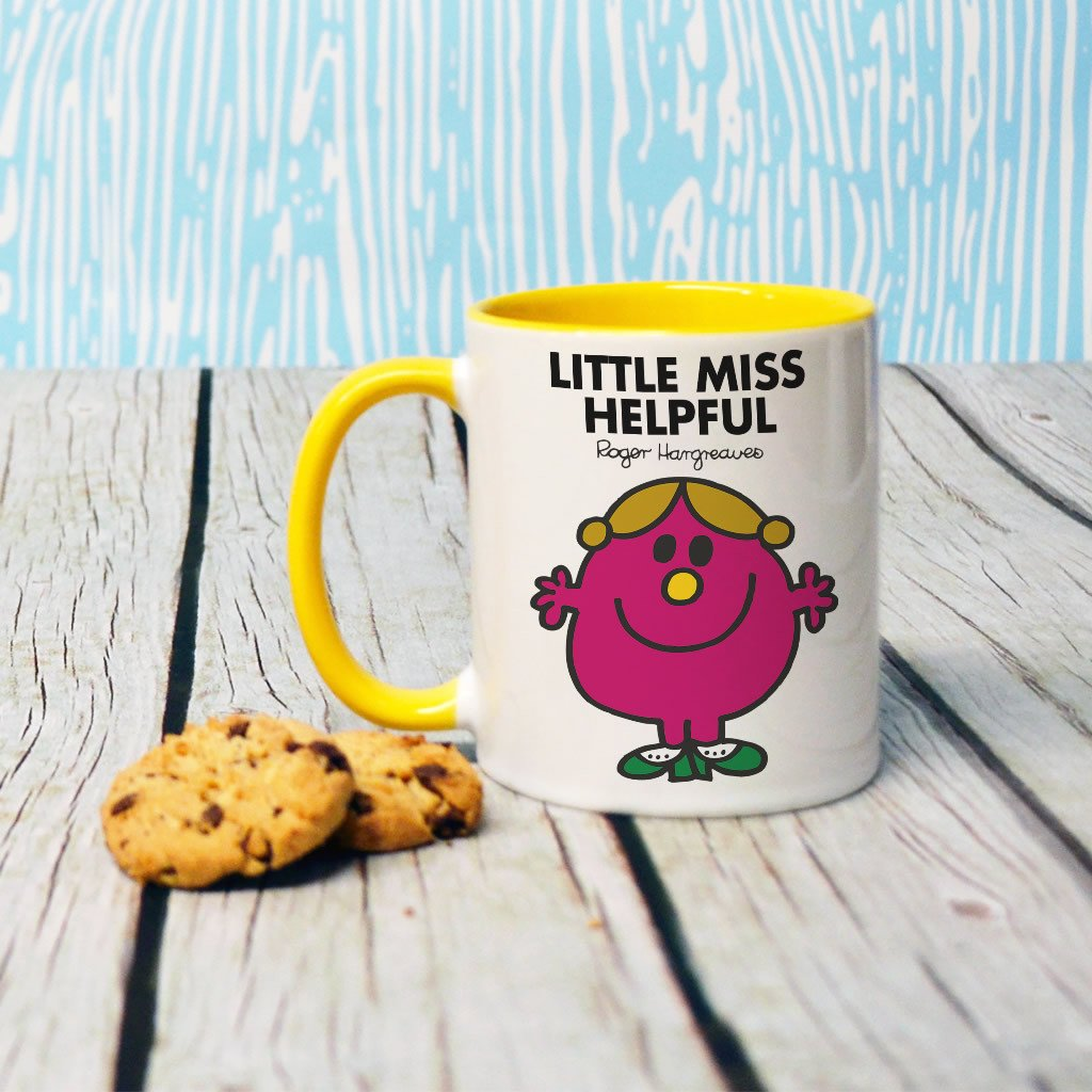 Little Miss Helpful Large Porcelain Colour Handle Mug (Lifestyle)