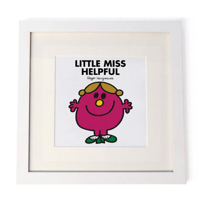 Little Miss Helpful White Framed Print