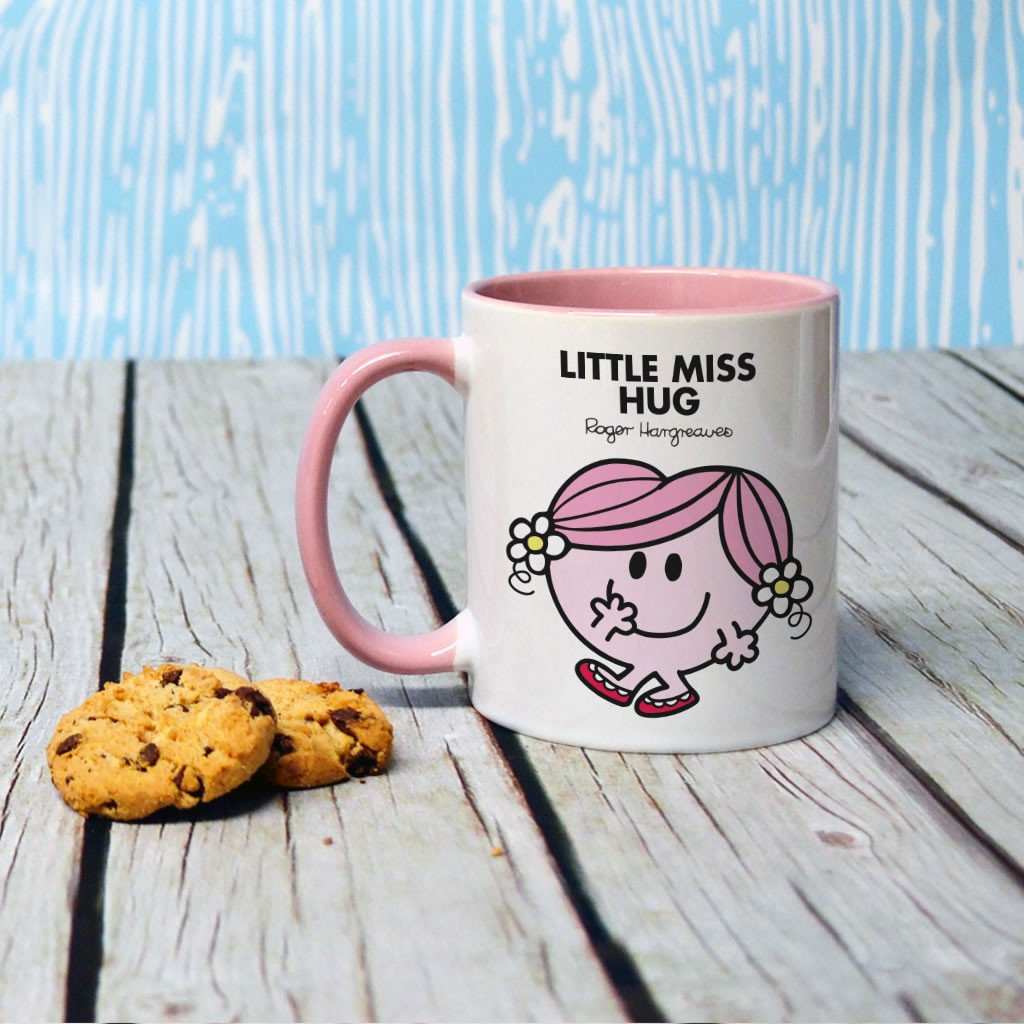 Little Miss Hug Large Porcelain Colour Handle Mug (Lifestyle)