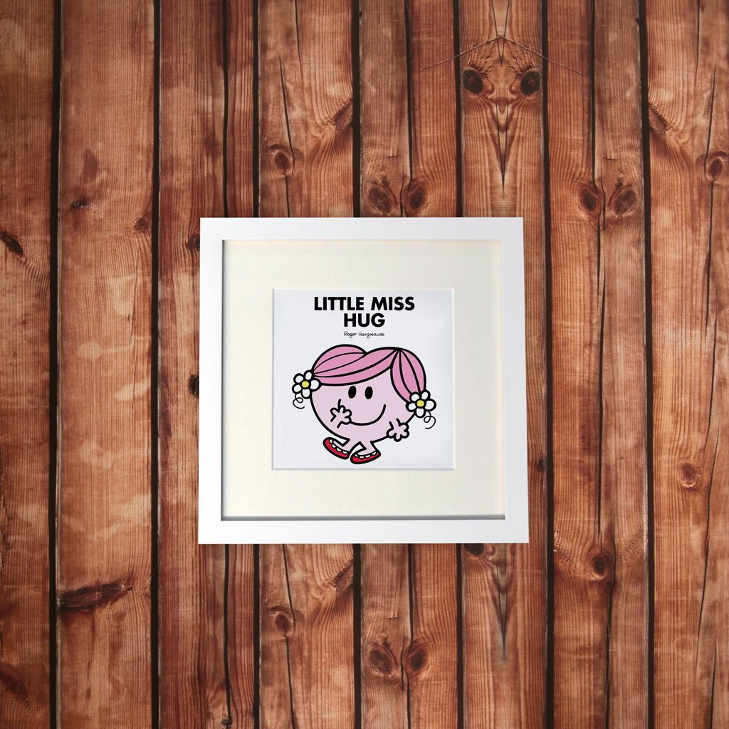 Little Miss Hug White Framed Print (Lifestyle)