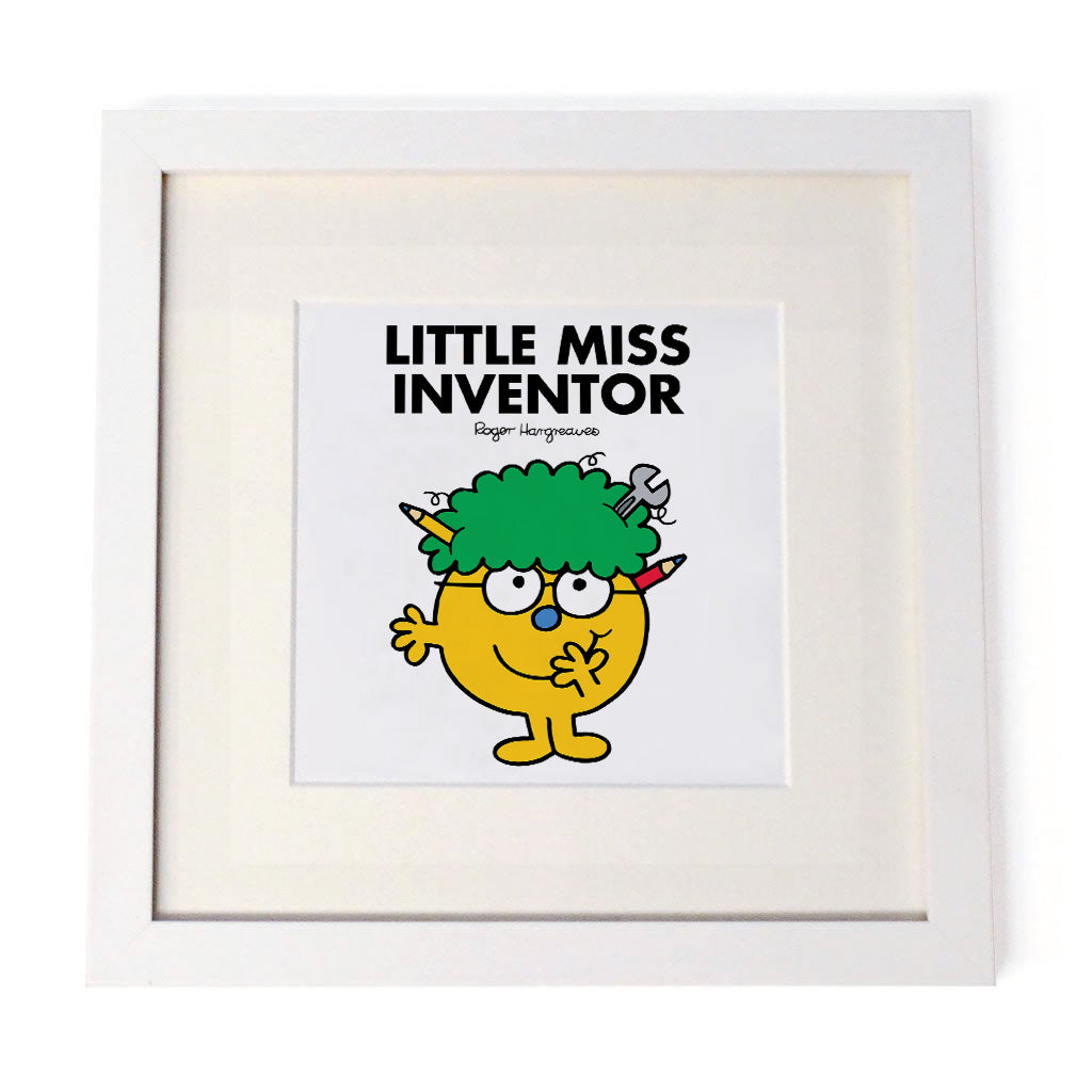 Little Miss Inventor White Framed Print
