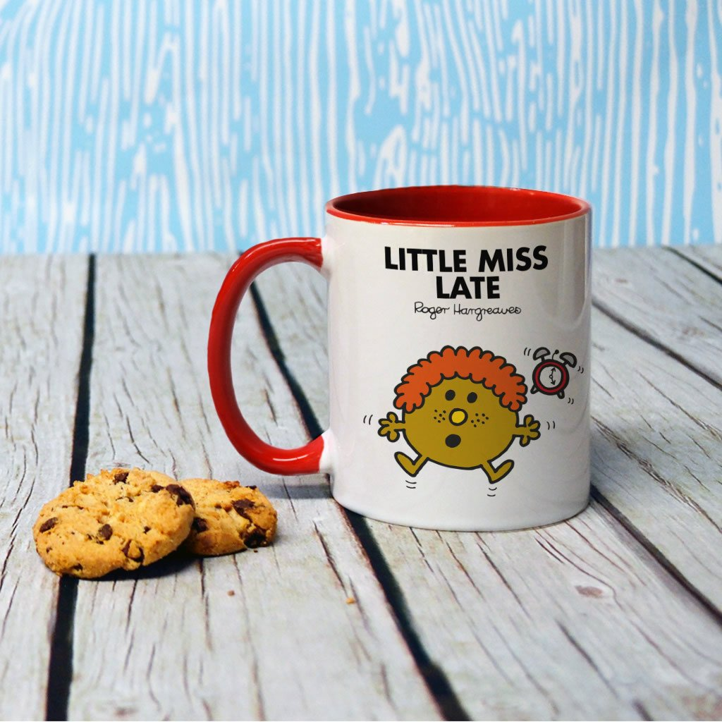 Little Miss Late Large Porcelain Colour Handle Mug (Lifestyle)