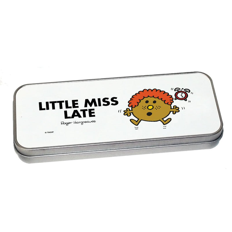 Little Miss Late Pencil Case Tin (Silver)