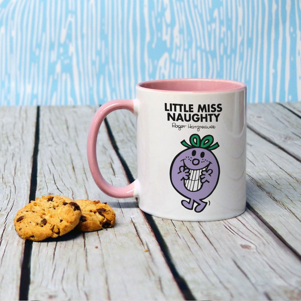 Little Miss Naughty Large Porcelain Colour Handle Mug (Lifestyle)