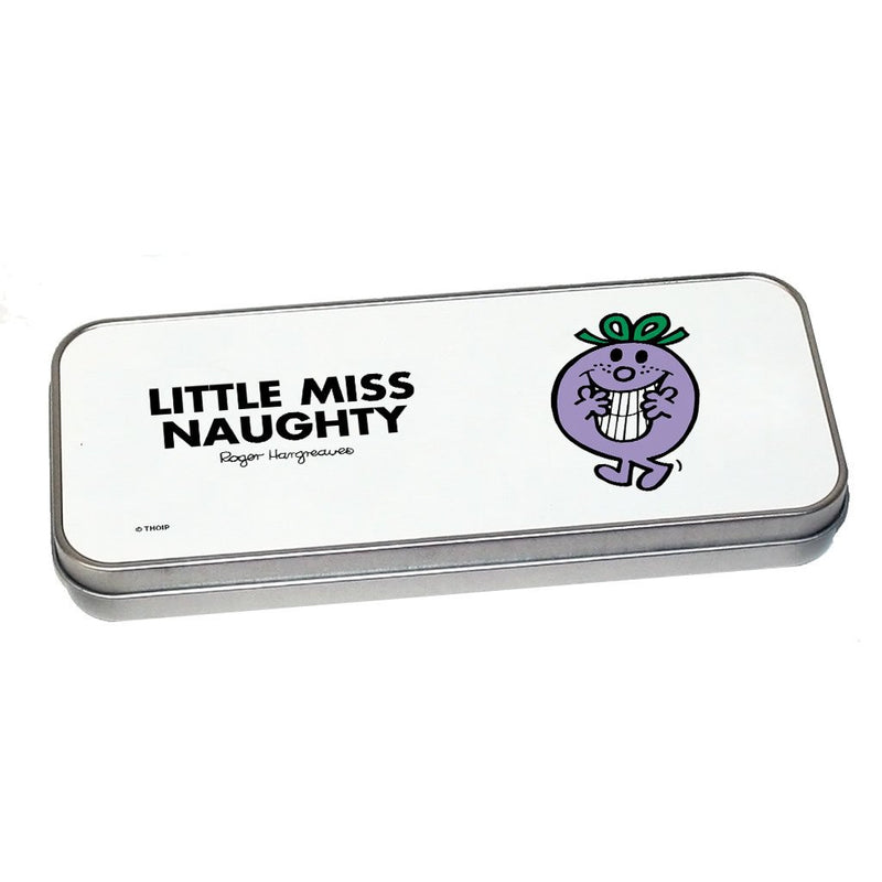 Little Miss Naughty Pencil Case Tin (Silver)
