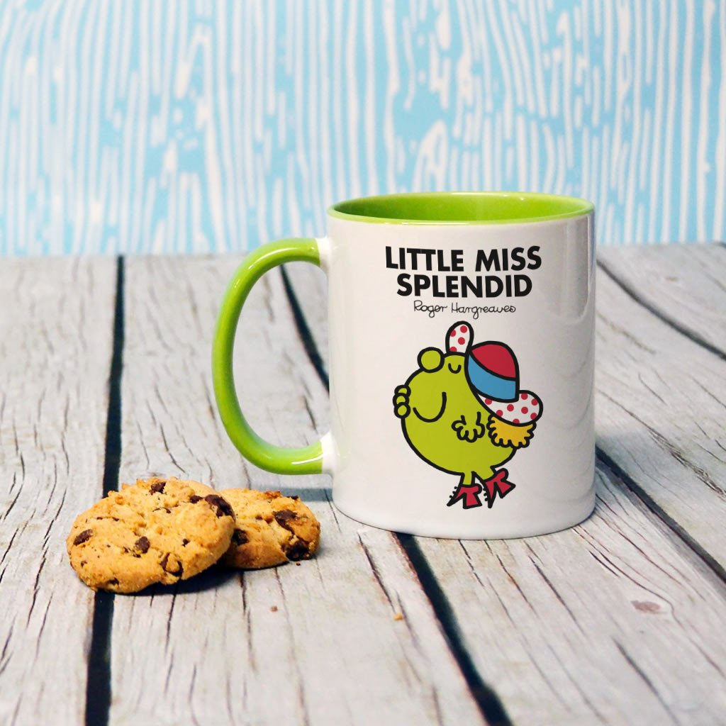 Little Miss Splendid Large Porcelain Colour Handle Mug (Lifestyle)
