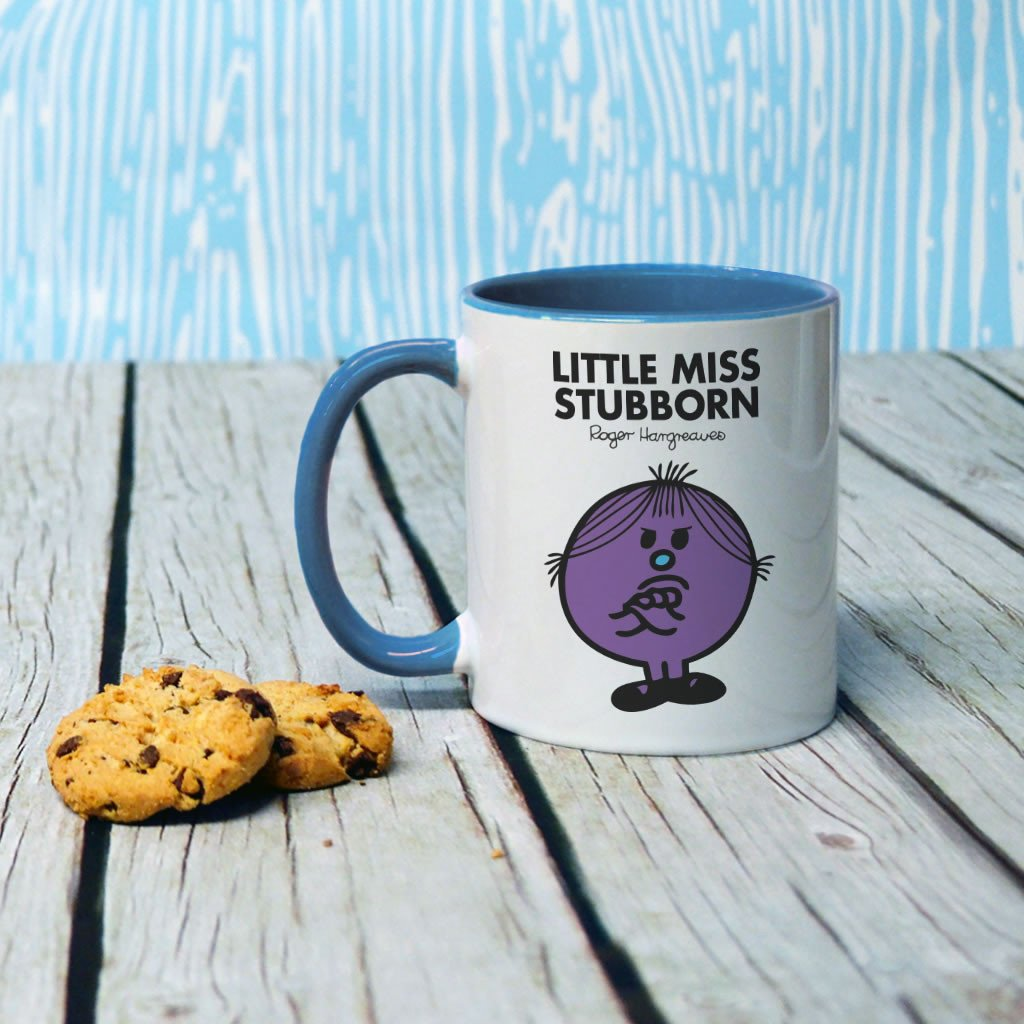 Little Miss Stubborn Large Porcelain Colour Handle Mug (Lifestyle)