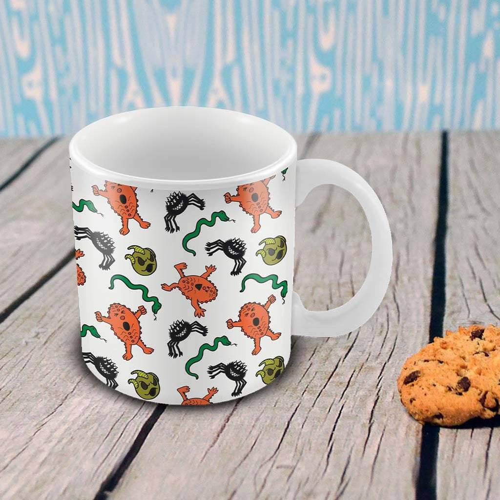 Monsters Pattern Porcelain Mug (Lifestyle)