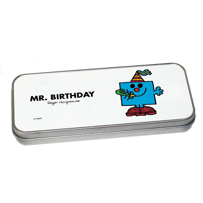 Mr. Birthday Pencil Case Tin (Silver)
