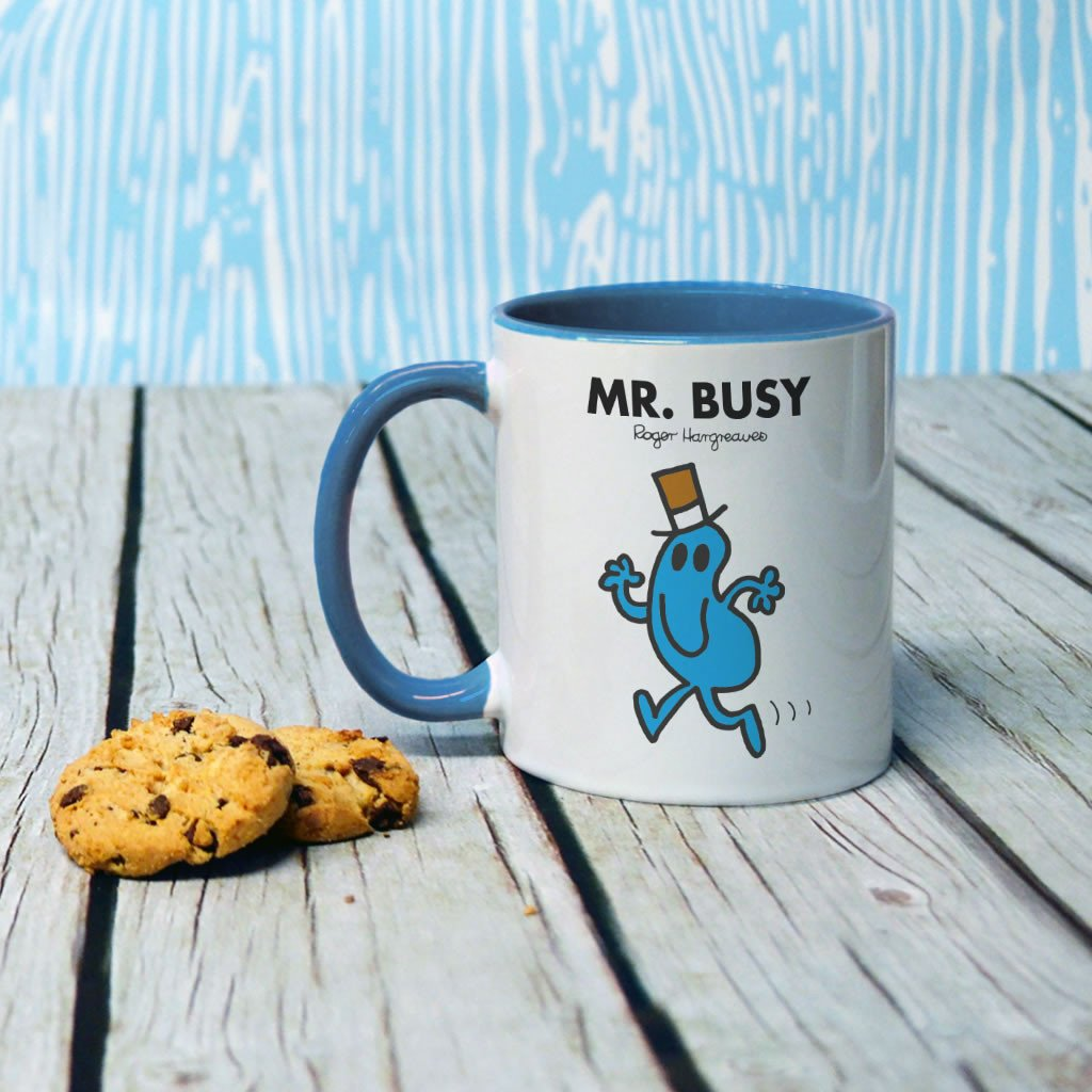 Mr. Busy Large Porcelain Colour Handle Mug (Lifestyle)