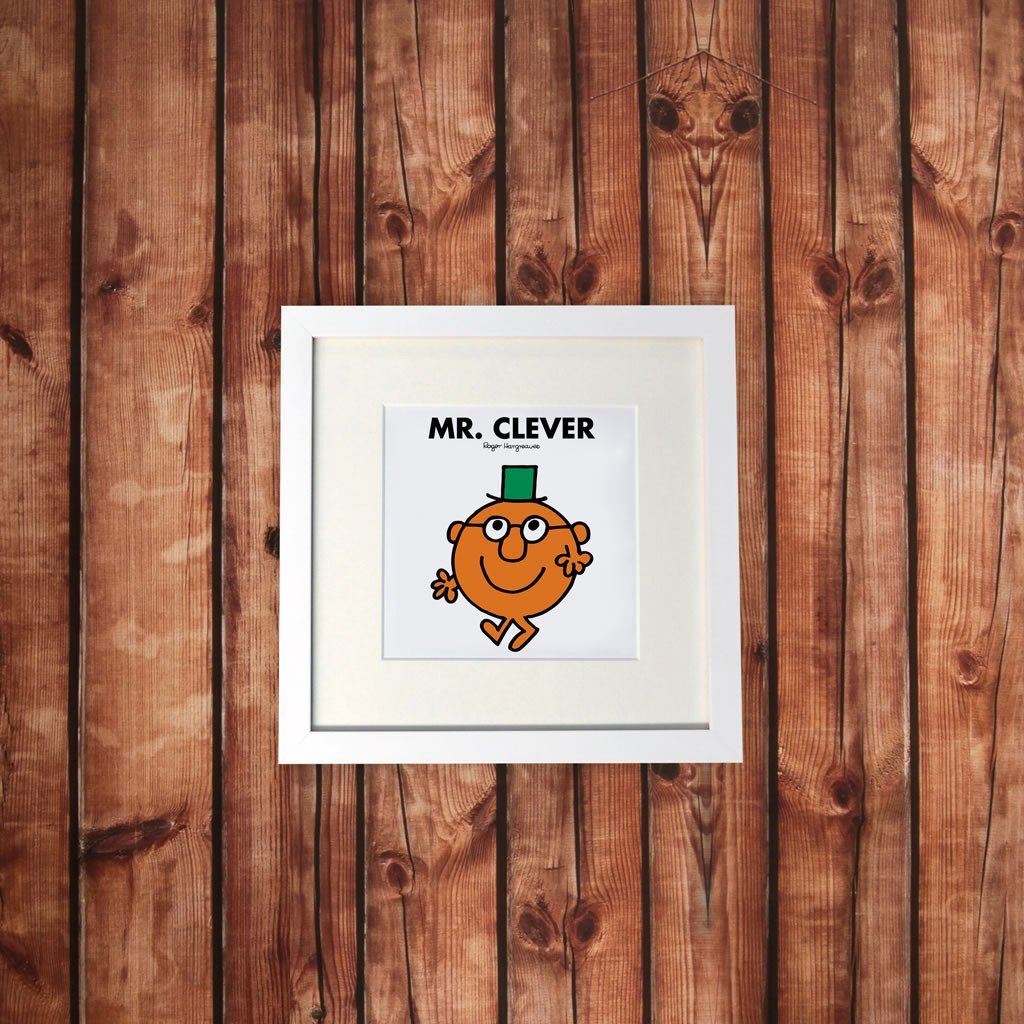 Mr. Clever White Framed Print (Lifestyle)