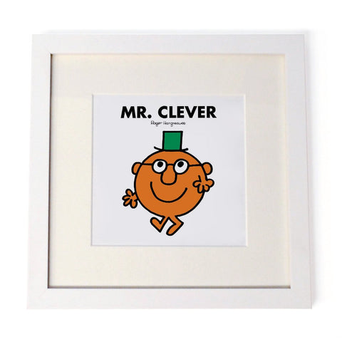 Mr. Clever White Framed Print