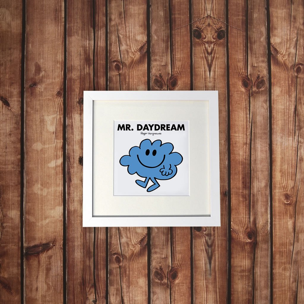 Mr. Daydream White Framed Print (Lifestyle)