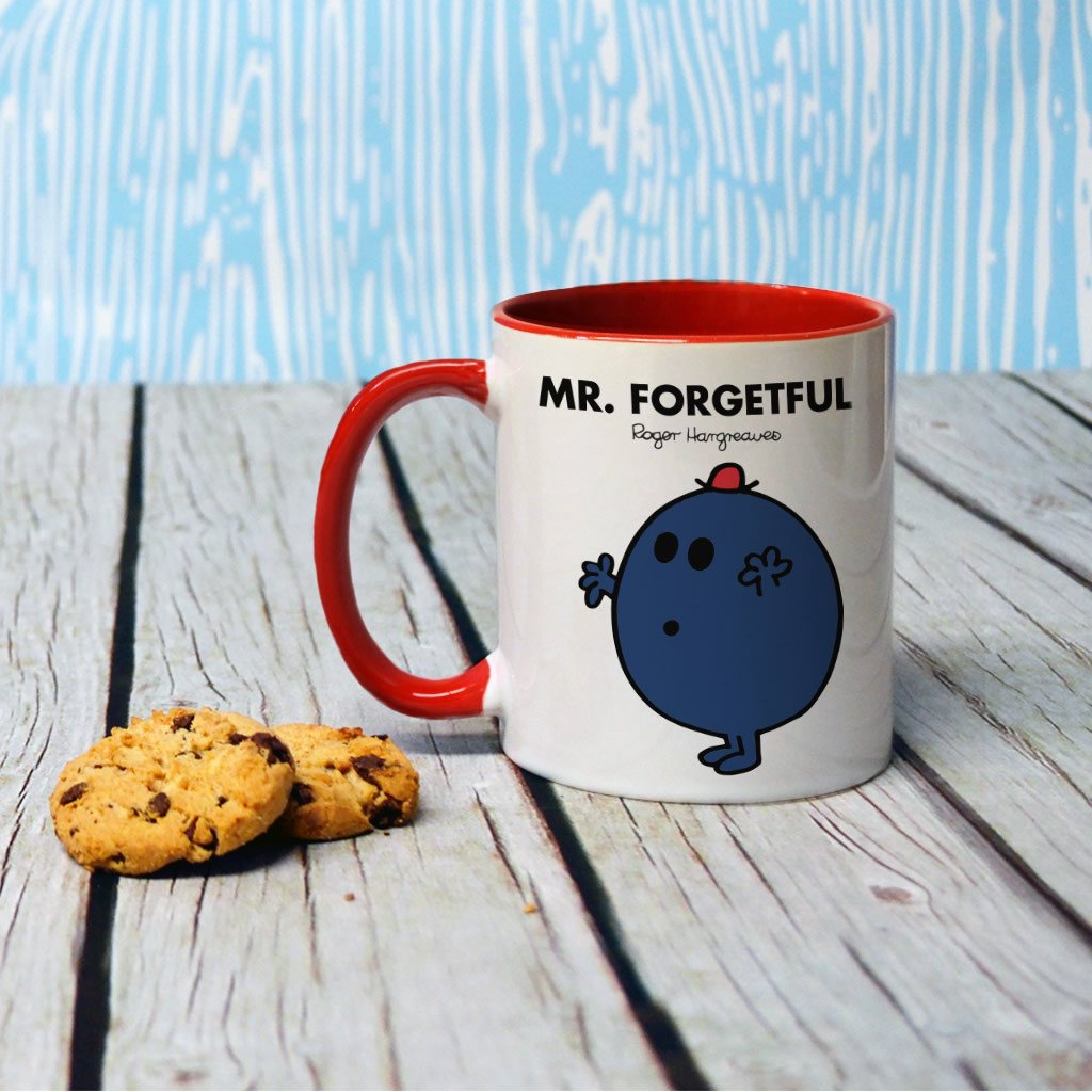 Mr. Forgetful Large Porcelain Colour Handle Mug (Lifestyle)