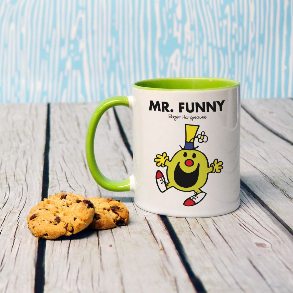 Mr. Funny Large Porcelain Colour Handle Mug (Lifestyle)