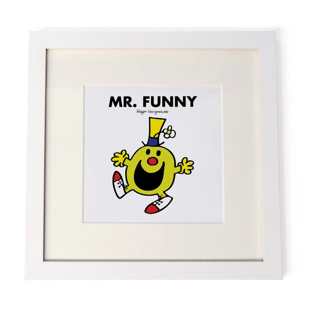 Mr. Funny White Framed Print
