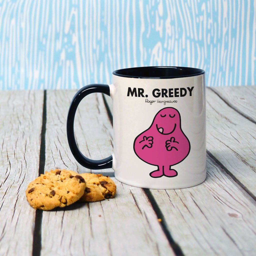 Mr. Greedy Large Porcelain Colour Handle Mug (Lifestyle)